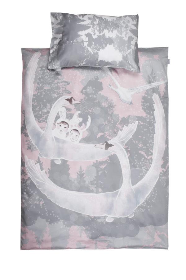 Voodipesu komplekt väikelastele: Luiged roosas