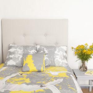 Voodipesukomplekt Luiged kollases; Bedding set Swans in yellow; Bettgarnitur Schwäne in gelb